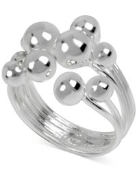 Macy's - Metallic Touch Of Silver Ball Multi-row Ring In Silver-plated Brass - Lyst