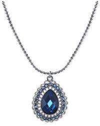2028 | Silver-tone Blue Crystal Teardrop Pendant Necklace | Lyst