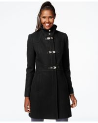 Kenneth Cole | Black Faux-leather-trim Buckle-front Walker Coat | Lyst