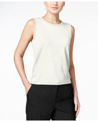 Calvin Klein | Natural Sleeveless Crew-neck Shell | Lyst