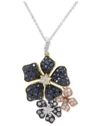 Effy Collection - Blue Confetti By Effy Multicolor Diamond Flower Pendant Necklace (1-3/8 Ct. T.w.) - Lyst
