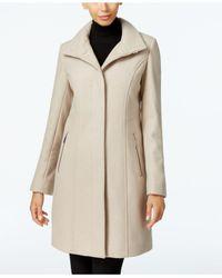 Kenneth Cole - Natural Wool-blend Seamed Walker Coat - Lyst