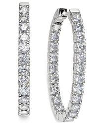 Macy's - Metallic In-and-out Diamond Hoop Earrings (3 Ct. T.w.) In 14k White Gold - Lyst