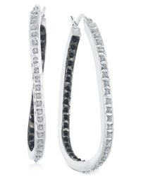 Macy's - White Diamond Hoop Earrings (1/10 Ct. T.w.) In Sterling Silver - Lyst