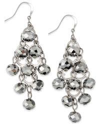 INC International Concepts - Metallic Silver-tone Rondelle Bead Drop Earrings - Lyst