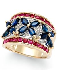 Macy's | Multicolor Stelring Silver Ring, Diamond And Diamond Accent Flag Heart Ring (1/3 Ct. T.w.) | Lyst