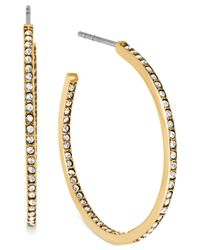 Michael Kors | Metallic Crystal Pave Small Hoop Earrings | Lyst