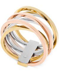 Michael Kors | Pink Tri-tone Crisscross Ring | Lyst
