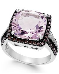 Macy's | Pink Amethyst (12mm) And Swarovski Zirconia Ring In Sterling Silver | Lyst