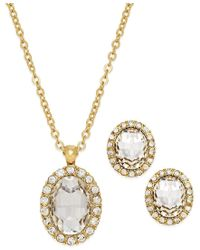 Charter Club - Metallic Gold-tone Oval Earring And Necklace Boxed Set - Lyst