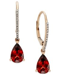 Macy's | Metallic Garnet (2-1/2 Ct. T.w.) And Diamond Accent Drop Earrings In 14k Rose Gold | Lyst
