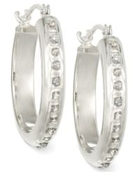 Macy's - Metallic Diamond Accent Chunky Small Hoop Earrings In 14k White Or Yellow Gold - Lyst
