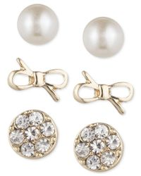 Lonna & Lilly - Metallic Gold-tone Trio Set Of Earrings - Lyst