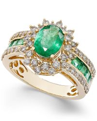 Macy's | Metallic Emerald (1-3/4 Ct. T.w.) And Diamond (3/4 Ct. T.w.) Ring In 14k Gold | Lyst