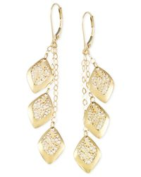 Macy's - Metallic Filigree Linear Leverback Earrings In 14k Gold - Lyst