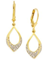 Macy's | Metallic Diamond Accent Oval Drop Earrings In 18k Gold Over Sterling Silver | Lyst