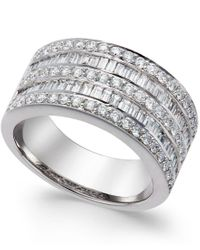 Macy's - Metallic Five-row Diamond Ring (1-1/4 Ct. T.w.) In 14k White Gold - Lyst