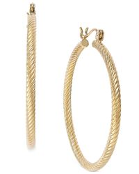 Macy's - Metallic Cable Twist Hoop Earrings In 14k Gold - Lyst