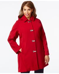 London Fog - Red Plus Size Hooded Clip-front Jacket - Lyst