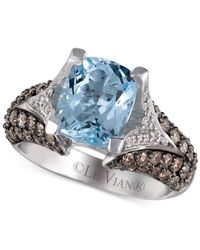 Le Vian | Metallic Aquamarine (2-1/2 Ct. T.w.), Chocolate Diamond (1 Ct. T.w.) And White Diamond (1/5 Ct. T.w.) Ring In 14k White Gold | Lyst