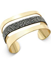 INC International Concepts - Metallic Gold-tone Hematite Stone Cuff Bracelet - Lyst