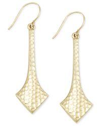 Macy's | Metallic Embossed Arrowhead Earrings In 14k Gold | Lyst