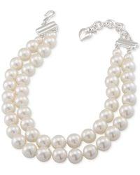 Carolee | Metallic Silver-tone Imitation Pearl Adjustable Collar Necklace | Lyst