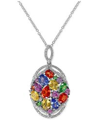 Effy Collection | Multicolor Multi-stone (4 Ct. T.w.) And Diamond (1/3 Ct. T.w.) Pendant Necklace In 14k White Gold | Lyst