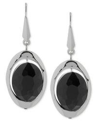 Robert Lee Morris | Silver-tone Black Faceted Bead Drop Earrings | Lyst