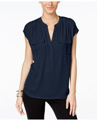INC International Concepts | Blue Petite Mixed-media Utility Shirt, Only At Macy's | Lyst