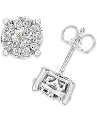 Macy's - Metallic Diamond Stud Earrings (1/2 Ct. T.w) In 14k White Gold - Lyst