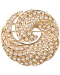 Anne Klein | Metallic Gold-tone Imitation Pearl Swirl Pin, A Macy's Exclusive Style | Lyst