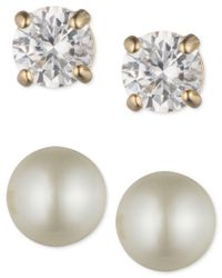Anne Klein - Metallic Cubic Zirconia And Imitation Pearl Boxed Stud Earrings Set - Lyst