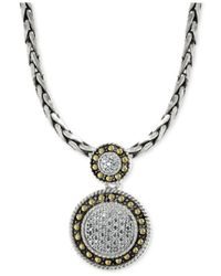 Effy Collection - Metallic Diamond Circle Pendant Necklace (1/8 Ct. T.w.) In 18k Gold And Sterling Silver - Lyst