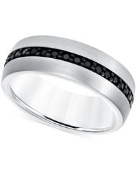 Macy's | Black Sapphire Band (7/8 Ct. T.w.) In White Tungsten Carbide | Lyst