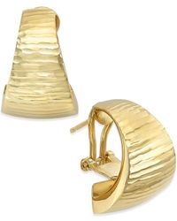 Macy's - Metallic Diamond-cut Omega Hoop Earrings In 14k Gold - Lyst