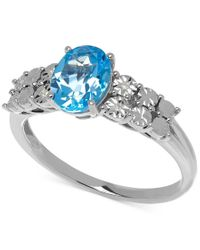 Macy's | Metallic Blue Topaz (1-3/8 Ct. T.w) And Diamond Accent Ring In 14k White Gold | Lyst