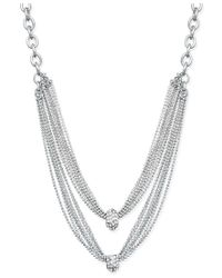 INC International Concepts   Metallic Silver-tone Two-row Crystal Cluster Chain Necklace   Lyst