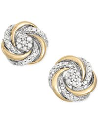 Macy's | Metallic Diamond Swirl Stud Earrings (1/10 Ct. T.w.) In 14k Gold And Sterling Silver | Lyst