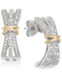 Macy's - Metallic Diamond Three-row Hoop Earrings (1/10 Ct. T.w.) In 14k Gold And Sterling Silver - Lyst