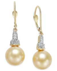 Macy's | Multicolor Cultured Golden South Sea Pearl (10mm) And Diamond (1/4 Ct. T.w.) Drop Earrings In 14k Gold | Lyst