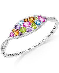 Macy's   Multicolor Multi-stone (7-1/3 Ct.t.w.) Oval Bangle Bracelet In Sterling Silver   Lyst