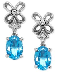 Macy's - Blue Topaz (7/8 Ct. T.w.) And Diamond Accent Drop Earrings In Sterling Silver - Lyst