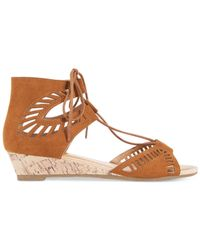 Esprit | Brown Cacey Lace-up Wedge Sandals | Lyst