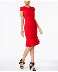 Betsey Johnson - Red Cap-sleeve Ruffled Dress - Lyst