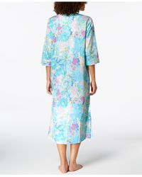 Miss Elaine - Blue Cotton Printed Long Zip Robe - Lyst