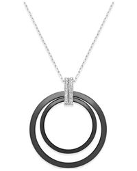Macy's | Black Diamond And Ceramic Circle Pendant Necklace (1/5 Ct. T.w.) In Sterling Silver | Lyst