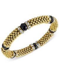 2028 | Gold-tone Jet Stone And Crystal Metallic Beaded Stretch Bracelet, A Macy's Exclusive Style | Lyst