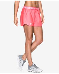 Under Armour | Pink Play Up Shorts | Lyst