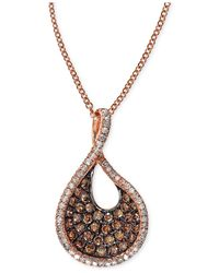Effy Collection | Brown Espresso Diamond Swirl Pendant Necklace (1/2 Ct. T.w.) In 14k Rose Gold | Lyst